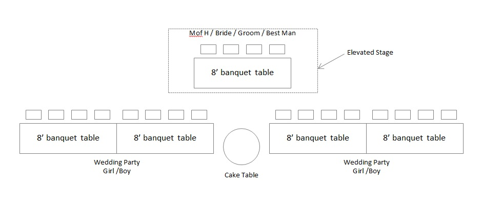 Head Table Tiered Single Sided